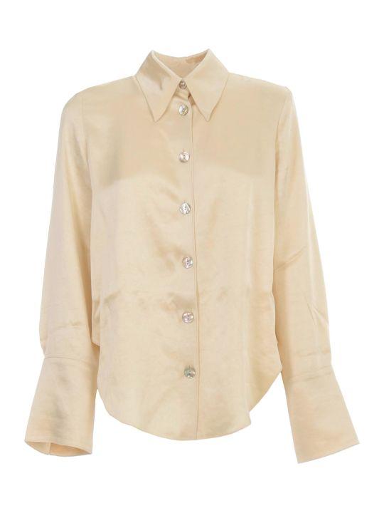 Nanushka Mandine Shirt L/s Satin Rounded Neck