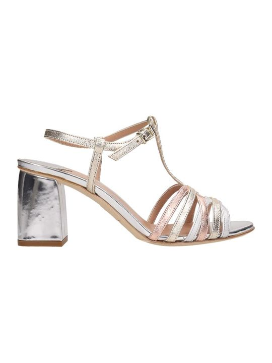 Julie Dee Silver And Beige Leather Sandals