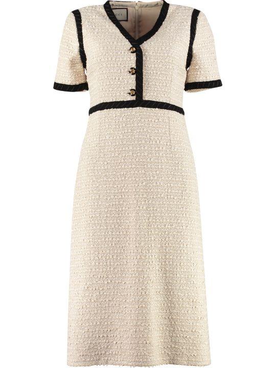 Gucci Contrast Trim Tweed Dress