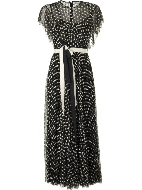 RED Valentino Embroidered Floral Tulle Dress Black