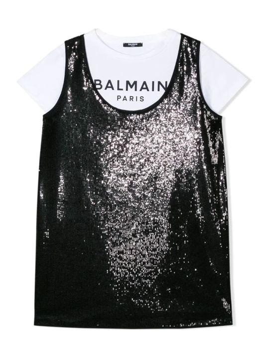 Balmain Black And White Teen Dress