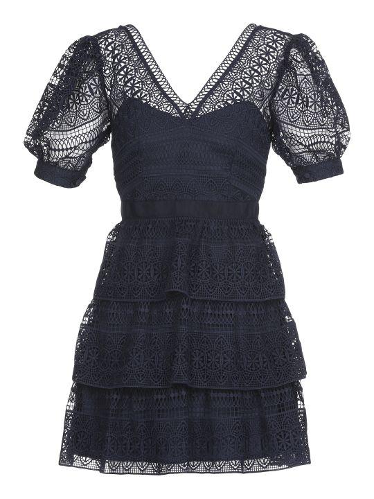 self-portrait Spiral Panel Midi Dress