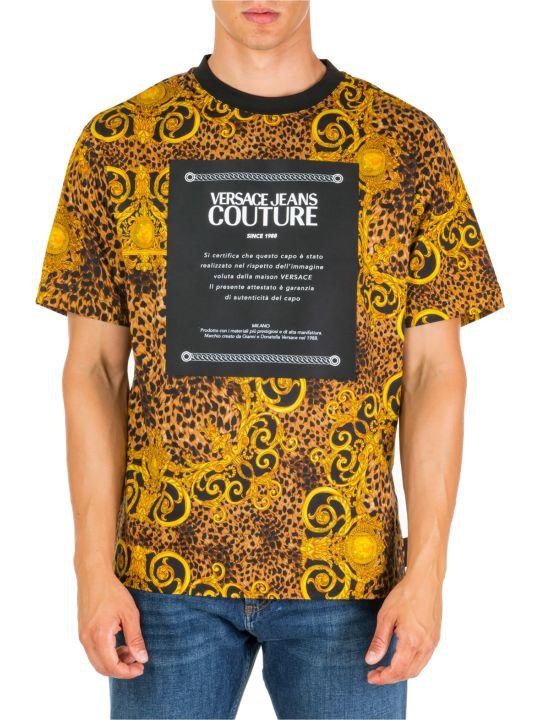Versace Jeans Couture  Short Sleeve T-shirt Crew Neckline Jumper Leo Baroque Etichetta
