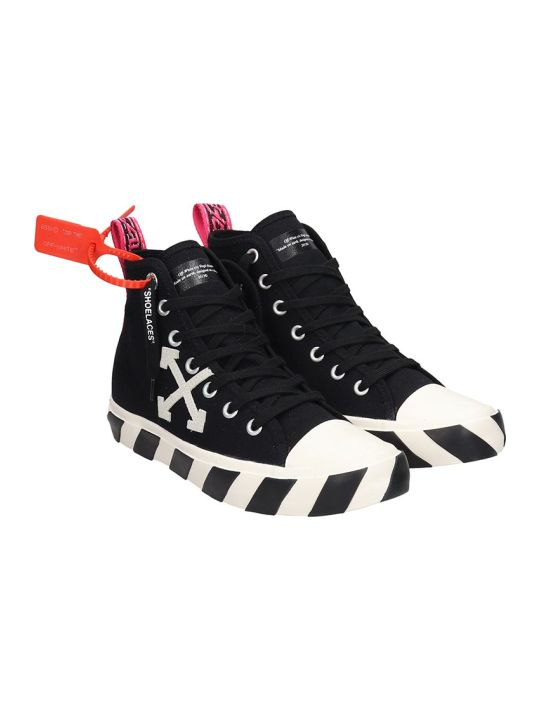 Off-White Mid Top Sneakers In Black Canvas