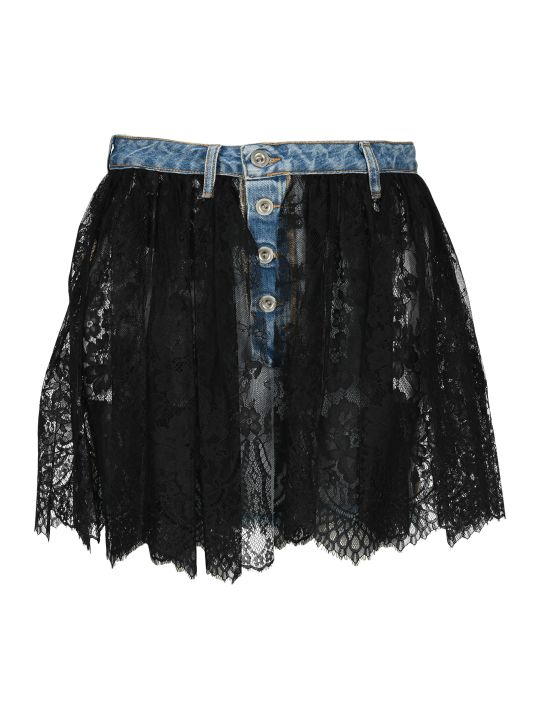 Ben Taverniti Unravel Project Unravel Reverse Lace Denim Skirt