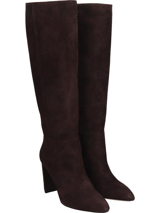 Dei Mille High Heels Boots In Brown Suede