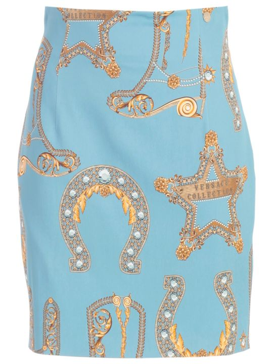 Versace Collection Skirt Short High Waist Baroque Printing