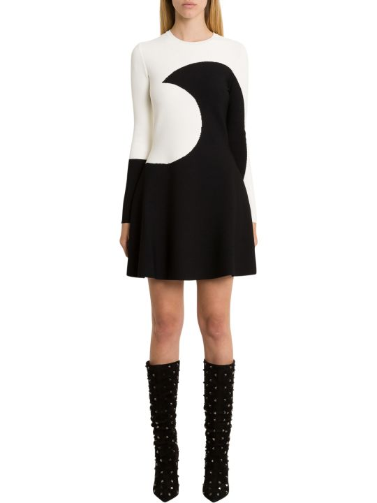 Valentino Short Knit Dress With Moon Intarsia