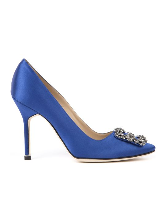 Manolo Blahnik Hangisi Blue Satin & Leather Pumps