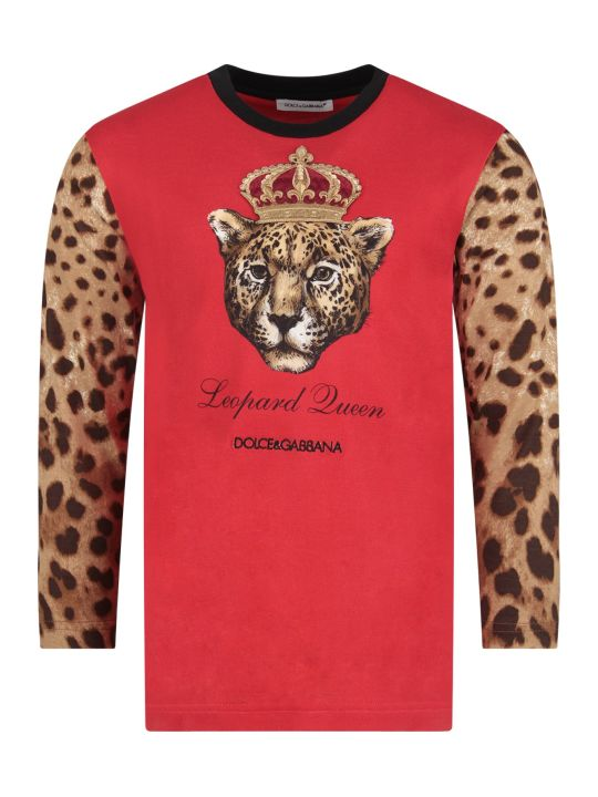 Dolce & Gabbana Red Girl T-shirt With Iconic Leopard