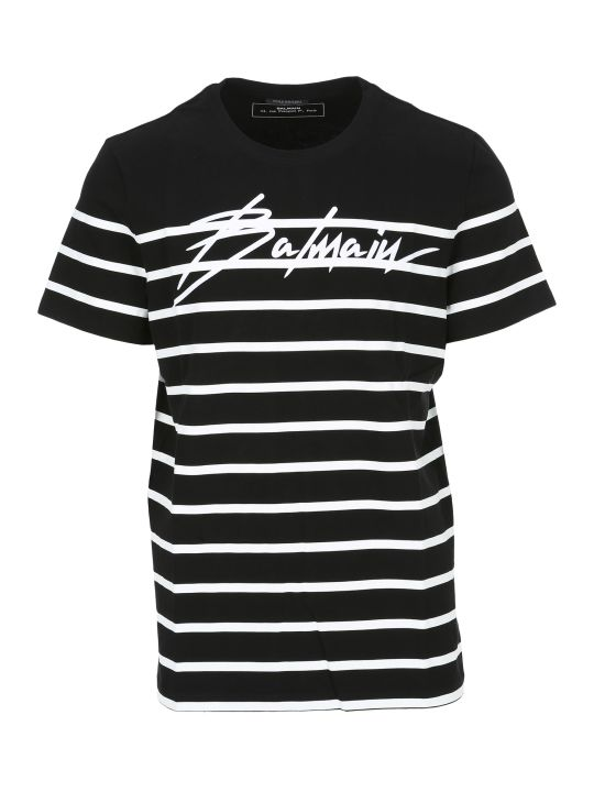 Balmain Striped Signature Logo T-shirt