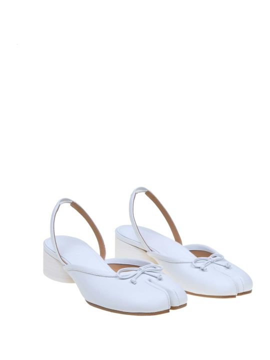Maison Margiela Ballerina In Leather White Color