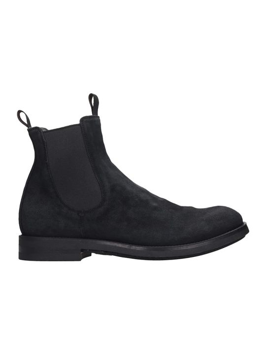 Officine Creative Academia Ankle Boots In Black Suede