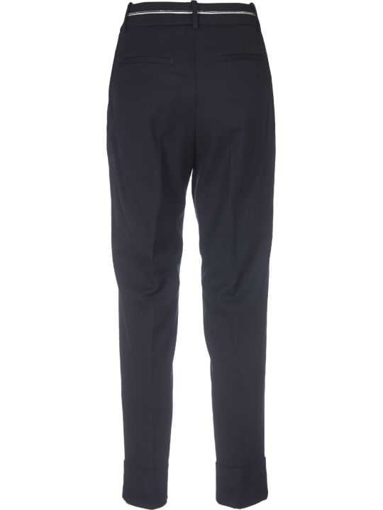 Peserico Dark Blue Trousers With Micro-beads