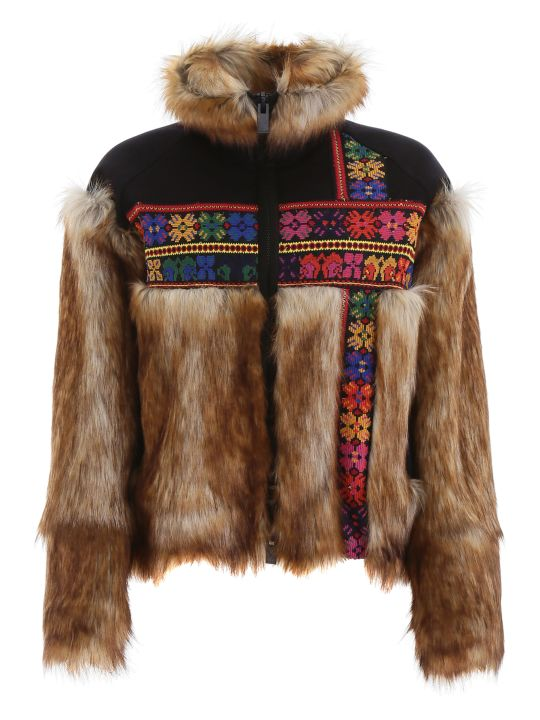 Sacai Embroidered Jacket With Faux Fur