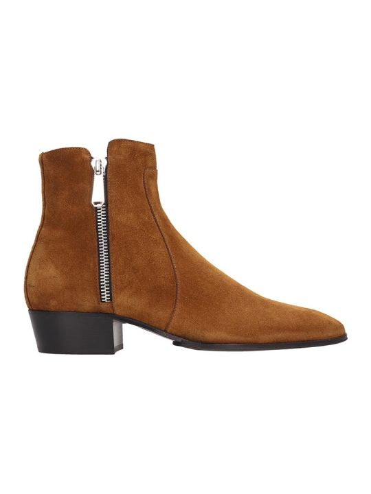 Balmain Ankle Boots In Leather Color Suede