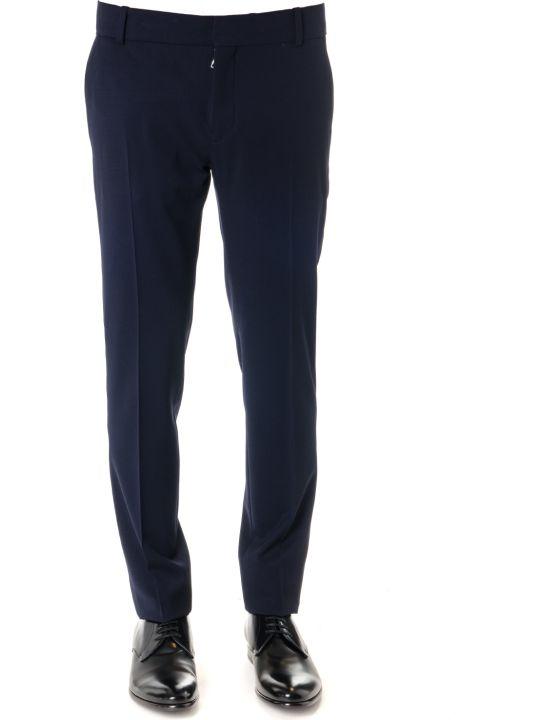 Balmain Blue Wool Pants With Side Stripe