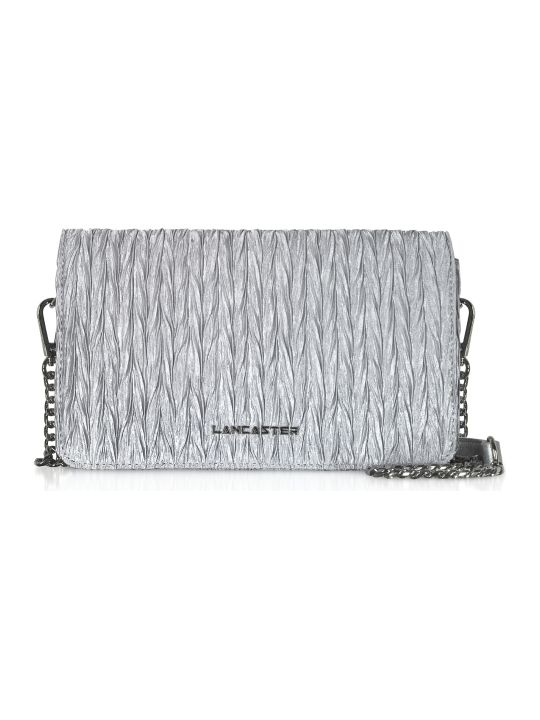 Lancaster Paris Silver Quilted Satin Shoulder Bag