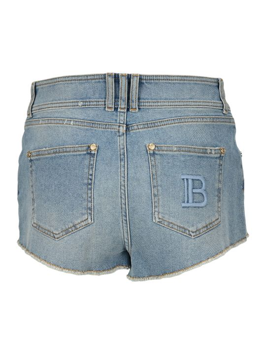 Balmain High-waist Denim Shorts With Balmain Monogram