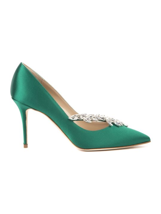 Manolo Blahnik Nadira Green Satin Pumps