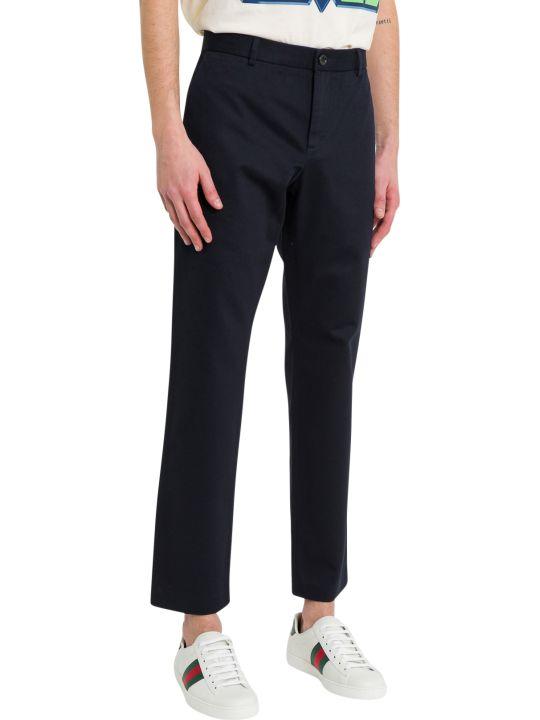 Gucci Blue Cotton Drill Trousers