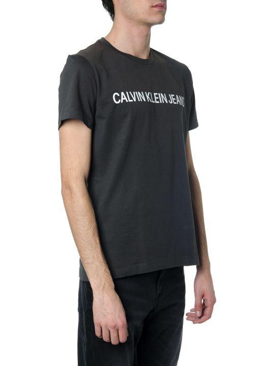 Calvin Klein Black Cotton T-shirt With Logo Written