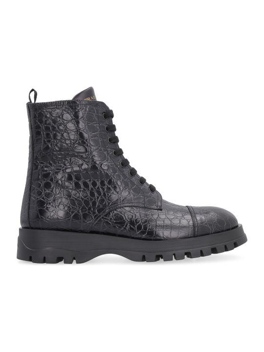 Prada Leather Combat Boots
