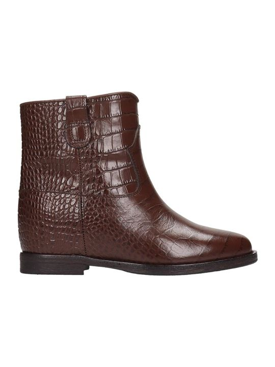 Via Roma 15 Ankle Boots In Brown Leather