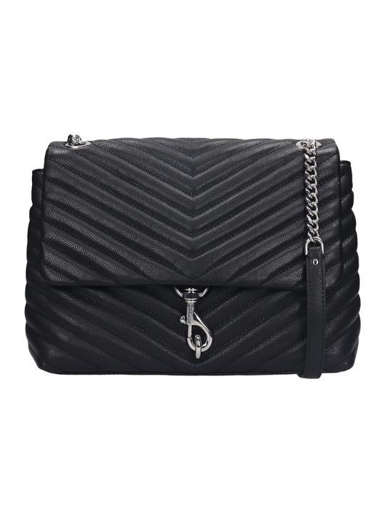Rebecca Minkoff Edie Flap Shoulder Bag In Black Leather