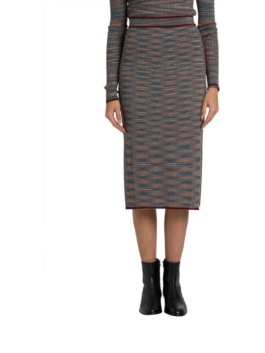 M Missoni Shot Knit Midi Skirt With Lurex Details