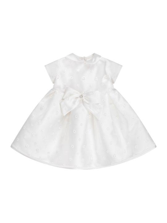 LòLò White Girl Dress With Bow And Rhinestones