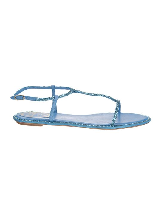 "René Caovilla ""amalia"" Flat Sandals In Blue Satin"