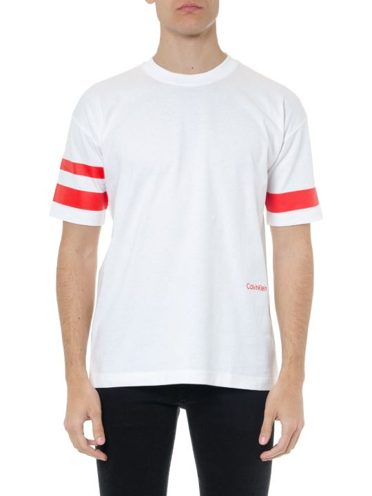 Calvin Klein White Cotton T Shirt With Red Stripes