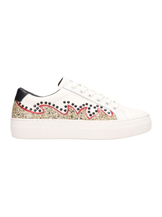 M.O.A. master of arts Low Embroidery White Leather Sneakers