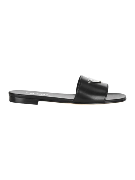 Prada Logo Plaque Flat Sandals
