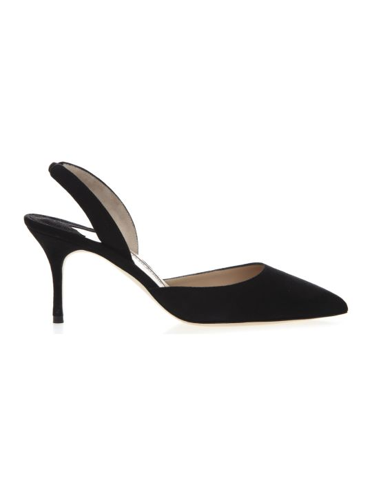 Manolo Blahnik Carolyne 70 Slingback Pumps In Black Suede