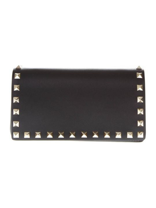 Valentino Garavani Black Leather Studs Clutch