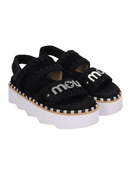 Mou New Bio Sandal Flats In Black Leather