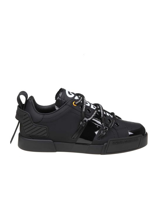 Dolce & Gabbana Portofino Sneaker In Calfskin And Black Paint