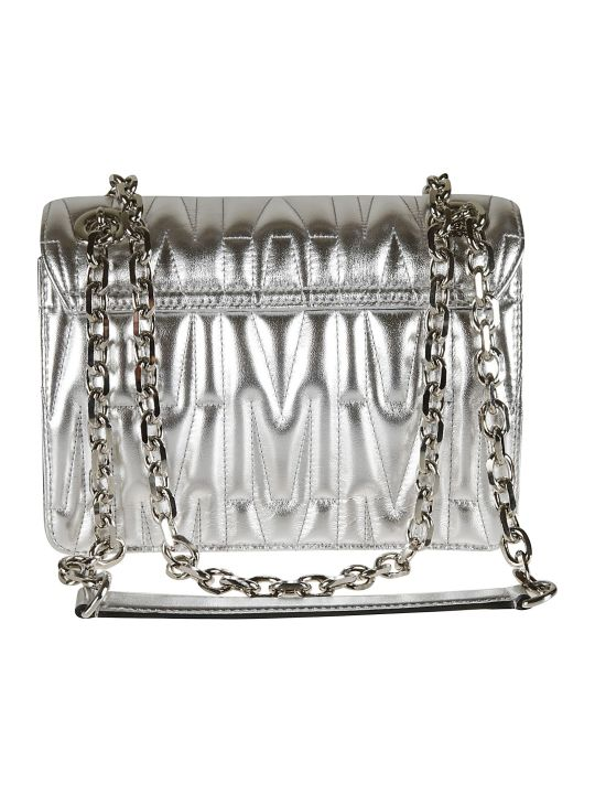 Moschino Logo Plaque Quilted Chain Shoulder Bag