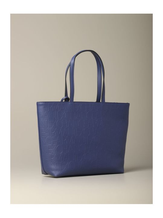 Armani Collezioni Armani Exchange Tote Bags Armani Exchange Shopping Bag In Logoed Leather