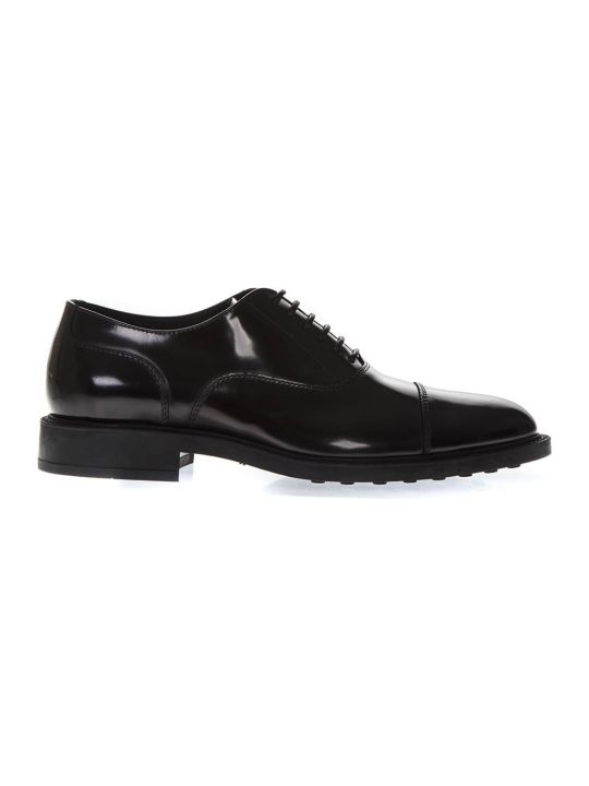 Tod's Black Classic Laced Up Shoes In Leather