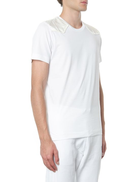 Diesel Black Gold White Cotton T Shirt With Shoulders Detail