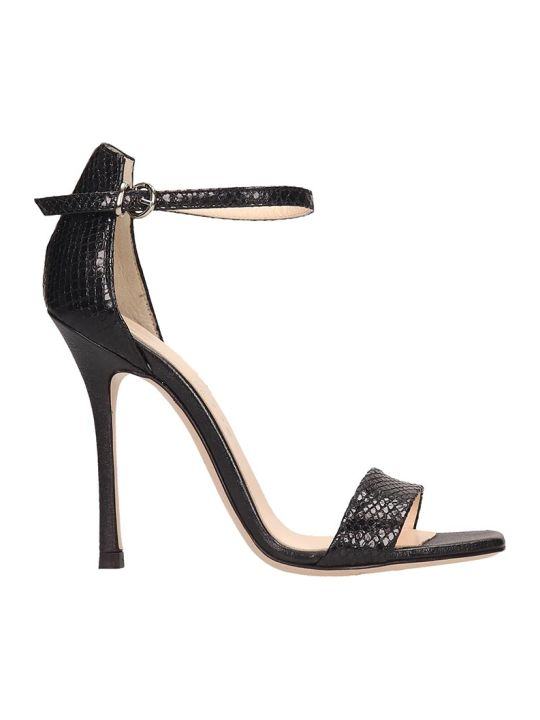 Marc Ellis Snake Print Black Leather Sandals
