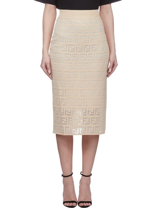 Fendi Ff Motif Knitted Skirt