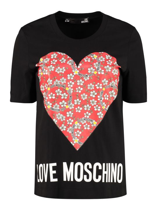 Love Moschino Logo Print Cotton T-shirt