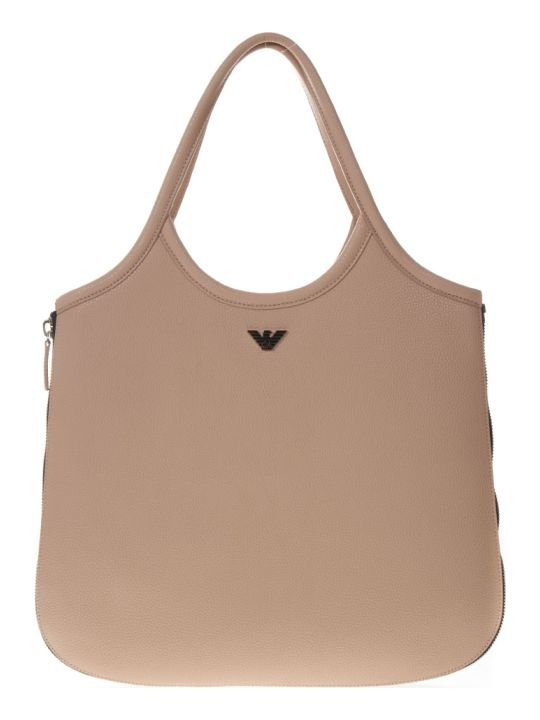 Emporio Armani Hobo Powder Leather Tote With Zip Around