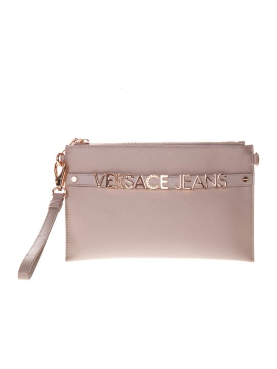 Versace Pink Faux Leather Clutch With Logo