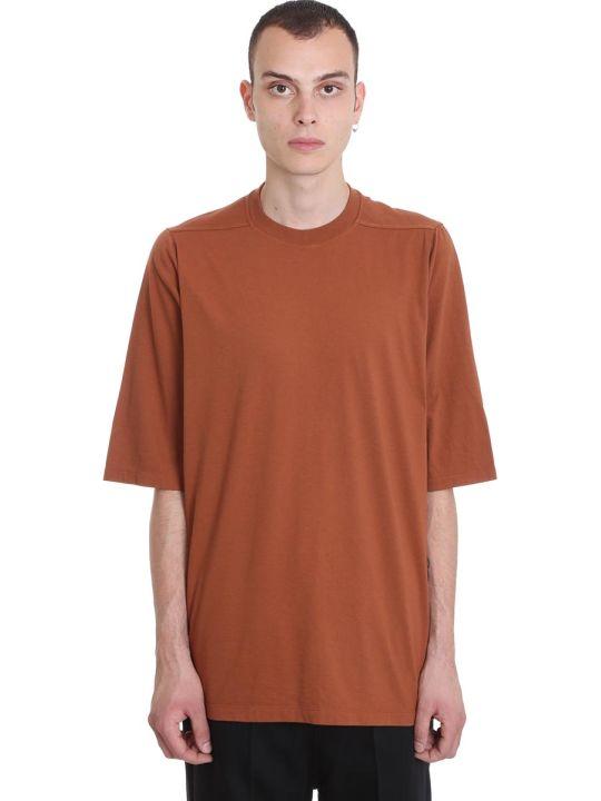 Rick Owens Crewneck Short T-shirt In Brown Cotton