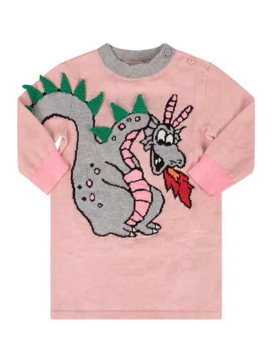 Stella McCartney Kids Pink Babygirl Dress With Colorful Dragon
